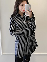 Women's Casual Sexy Shirt,Striped Shirt Collar Long Sleeve Others