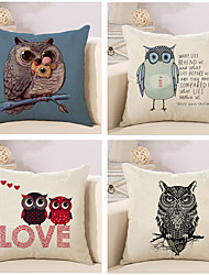 Set Of 4 Personality Owl Design Sofa Cushion Cover Cotton/Linen Pillow Case 45*45Cm Pillow Cover
