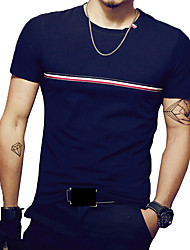 Men's Summer Fashion O Neck Striped Short Sleeve Casual Polos /Cotton /Spandex Medium/Plus Size Casual/Daily Simple
