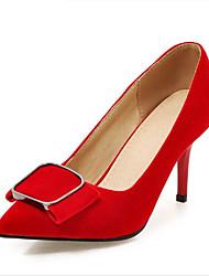 Women's Heels Fleece Spring Fall Walking Bowknot Low Heel Stiletto Heel Black Ruby Blue 1in-1 3/4in