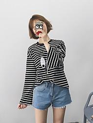 Damen Gestreift Niedlich T-shirt,Rundhalsausschnitt Langarm Polyester