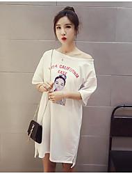 Damen Muster Sexy Niedlich Alltag T-shirt,Rundhalsausschnitt ½ Länge Ärmel Baumwolle