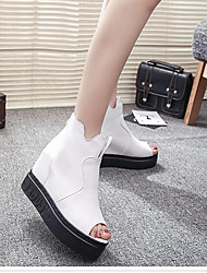 Mujer Sandalias Confort PU Verano Casual Confort Blanco Negro 5 - 7 cms