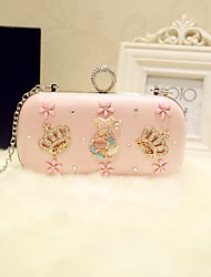 Women Evening Bag PU All Seasons Event/Party Party & Evening Date Baguette Rhinestone Magnetic Blushing Pink