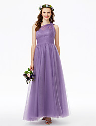 2017 LAN TING BRIDE Ankle-length One Shoulder Bridesmaid Dress - Open Back Sleeveless Tulle