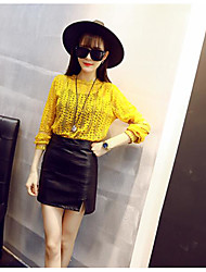Women's Party/Evening Cute T-shirt,Solid Jewel Long Sleeve Others