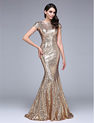 Mermaid / Trumpet Bateau Neck Court Train Sequined Formal Evening Dress with Sequins by TS Couture®