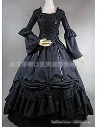 Une Pièce/Robes Gothique Rétro Elégant Cosplay Vêtrements Lolita Couleur unie Ras du Sol Jupe Robe Pour Tissu Matelassé Tissu en Coton
