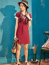 Dámské Běžné/Denní Volné Šaty Jednobarevné,Bez rukávů Košilový límec Nad kolena Bavlna Léto Mid Rise Lehce elastické Tenké