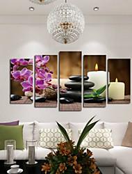 Art Print Floral/Botanical Modern,Five Panels Horizontal Print Wall Decor For Home Decoration