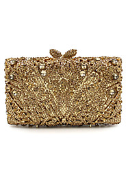 Women's Evening Bag Metal All Seasons Formal Event/Party Wedding Minaudiere Rhinestone Chain Metallic Magnetic Light Gold Gold