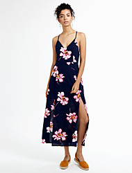 Women's Boho|Backless Going out Formal Sexy Simple Bodycon Dress,Floral V Neck Maxi Sleeveless Blue White Silk Summer High Rise Inelastic Thin