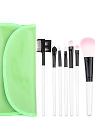 7pcs Green Makeup Brush Set Blush Brush Eyeshadow Brush Eyeliner Brush Eyelash Brush dyeing Brush Powder Brush Sponge Applicator Synthetic Hair