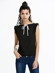Damen Solide Einfach Lässig/Alltäglich T-shirt,Bateau Frühling / Sommer Ärmellos Rosa / Weiß / Schwarz / Grün / Orange / Gelb Baumwolle