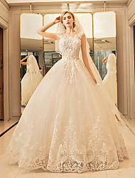 Princess Wedding Dress - Elegant & Luxurious Floor-length Scoop Tulle with Appliques Lace Ruffle Sequin