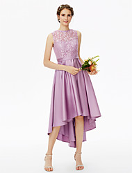 2017 LAN TING BRIDE Asymmetrical Jewel Bridesmaid Dress - See Through Elegant Sleeveless Lace Satin