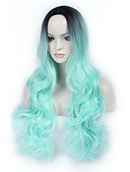 Hot Selling Black To Light Green Ombre Color Long Wave Women Wigs Heat Resisting Syntheitc Wigs