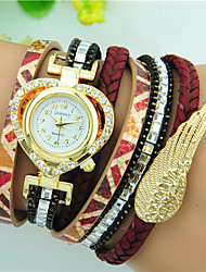 Women's Quartz Rhinestone PU Band Heart Angel Wing Bracelet Watch