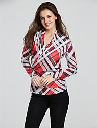 Damen Druck Einfach Lässig/Alltäglich T-shirt,V-Ausschnitt Herbst Langarm Polyester Mittel