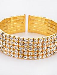 High Quality Fashion Elegant Charm Plated Gold/Silver Full Rhinestone Cuff Bangle  Bracelets For Women Weddings Bridal Jewelry Accessories