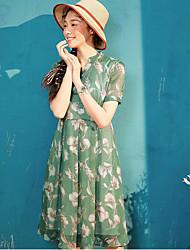 Dámské Běžné/Denní Volné Šaty Tisk,Krátký rukáv Stojáček Midi Polyester Léto Mid Rise Lehce elastické Tenké