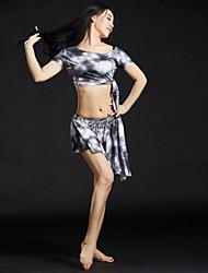 Dança do Ventre Roupa Mulheres Treino Fibra de Leite Lantejoulas 4 Peças Manga Curta Caído Blusas Vestido Cinto Calções