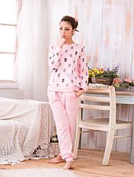 Maquiagem feminina o pescoço pequeno crânio gráfico manga longa conjunto de pijama casual