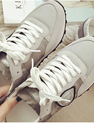 Women's Athletic Shoes Comfort Real Leather Spring Summer Casual Comfort Dark Grey Beige Flat