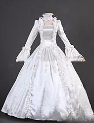 Una Sola Pieza/Vestidos Gosurori Lolita Cosplay Vestido  de Lolita Blanco Cosecha Casquillo Manga Larga Hasta el Suelo Vestido por Otros