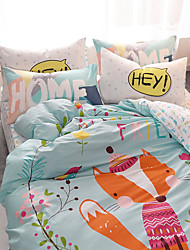 fashion bedding set 4pcs for queen size fox printed cartoon kids duvet cover set bedsheet pillowcase