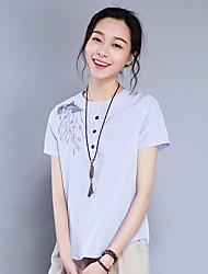 Damen Gestreift Einfach Alltag T-shirt,Rundhalsausschnitt Kurzarm Baumwolle