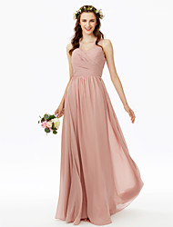A-Line V-neck Floor Length Chiffon Bridesmaid Dress with Lace Side Draping Criss Cross Pleats by LAN TING BRIDE®