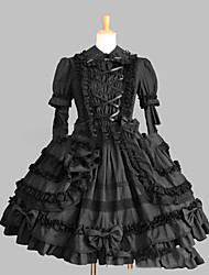 One-Piece/Dress Gothic Lolita Lolita Cosplay Lolita Dress Black White Blue Red Vintage Cap Long Sleeve Short / Mini Dress For