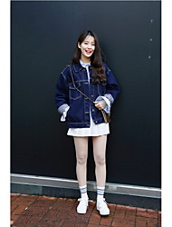 Women's Casual/Daily Cute Spring Winter Denim Jacket,Solid Shirt Collar Long Sleeve Long Denim
