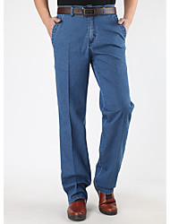 Men's High Rise strenchy Jeans Pants,Simple Loose Solid