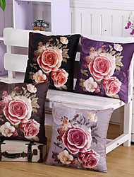 Set Of 4 Top Grade Velveteen Rose Flowers Pillow Cover American Style Pillow Case