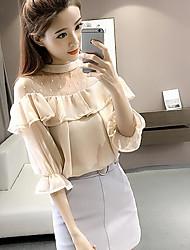 Damen Solide Einfach T-shirt,Rundhalsausschnitt Kurzarm Acryl