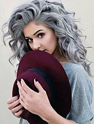 Top Quality Gray Hair Color Wig Heat Resistant Synthetic Hair Wigs Water Wave Wigs Lace Front Wigs