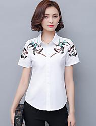 Women's Daily Simple Shirt,Embroidery Shirt Collar Short Sleeve Cotton Blend