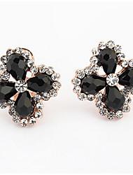 Euramerican Fashion  Elegant Temperament Flower Rhinestone Earrings Female Daily Black Stud Earrings Jewelry Gifts