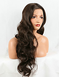 Long Body Wave Nature Brown Color Hair Heat Resistant Fiber Soft Synthetic Lace Front Women Wig