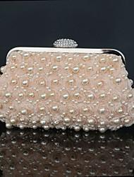 Damen Polyester Strass Perlen Verzierung Gefaltet Druckknopf Champagner Weiß Schwarz