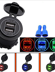 WUPP 4.2A Dual Port USB Charger with Voltmeter 12-24V BLUE LED Digital Display Universal for Car Boat Motorcycle