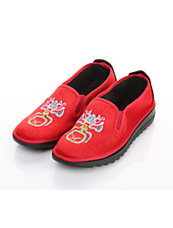 Women's Flats Ballerina Embroidered Shoes Fabric Spring Fall Office & Career Casual Flower Flat Heel Black/Blue Black/Red Flat