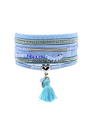 Fashion Women Multi Rows Metal Heart  Rhinestone Spring Tassel Magnet Leather Bracelet