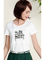I BELIEVE YOU Women's Daily Casual Simple T-shirtEmbroidery Round Neck Short Sleeve Cotton Polyester