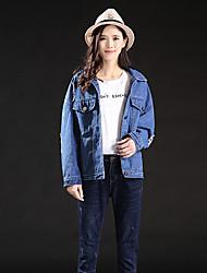 Feminino Jaqueta jeans Para Noite Praia Férias Simples Primavera Outono,Sólido Padrão Algodão Colarinho Chinês Manga Longa