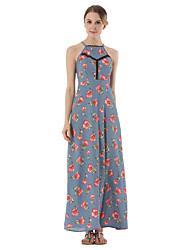 SUOQI Summer Women Dress Sexy Backless Slings Chiffon Dress Floral Print Maxi Holiday Dresses