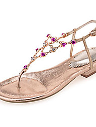 Damen Sandalen Leder Frühling Gold Silber Flach