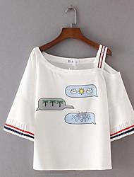 Damen Druck Einfach Alltag T-shirt,Asymmetrisch 3/4 Ärmel Polyester